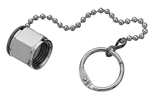 DISS Cap and Chain Medical Gas Fitting, DISS, 1040-A, N2O, Nitrous Oxide, 1080-A, CO2, Carbon Dioxide, 1060-A, He-O2, Heliox, 1160-A, Medical Air, Breathing Air, 1120-A, N2, Nitrogen, 1180-A, O2-He, 1220, Vacuum, Suction, stopper, hose cap