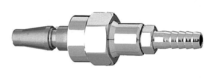 "M O2 Swivel Schrader Quick Connect to 1/4"" Barb"